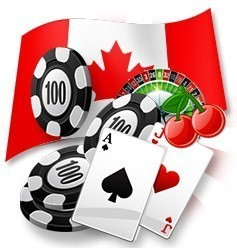 The perfect Blackjack hand with a roulette table and Canadian flag.